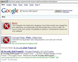 Trojan-Loserbar also hooks into IE and generates bogus Google search results, leading to a rogue antispyware product