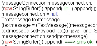 Java code calls the phone's SMS messaging functions