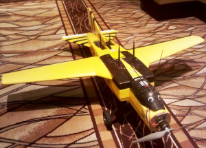 The Wasp, a home made UAV, equipped with wireless sensors and scanners