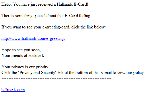 Spamvertised hallmark ecard campaign leads to malware webroot blog more details m4hsunfo
