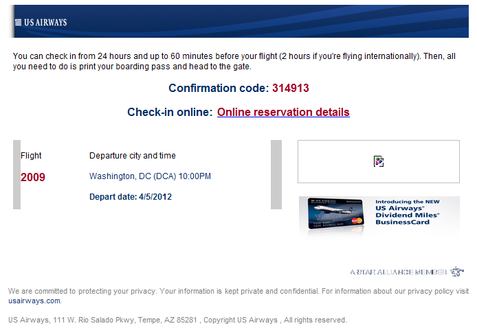 When can you check-in online for a US Airways flight?