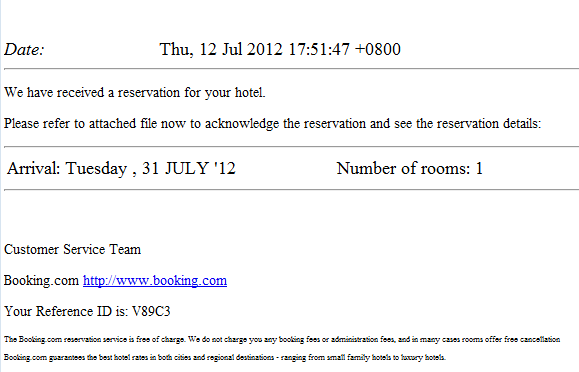 The Malicious Hotel Reservation Confirmation From Bookingexe