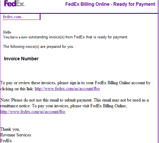 Spamvertised Your Fedex Invoice Is Ready To Be Paid Now Themed - Email for invoice payment
