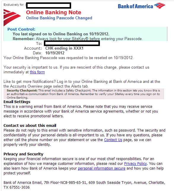 BofA 'Online Banking Passcode Reset' themed emails serve