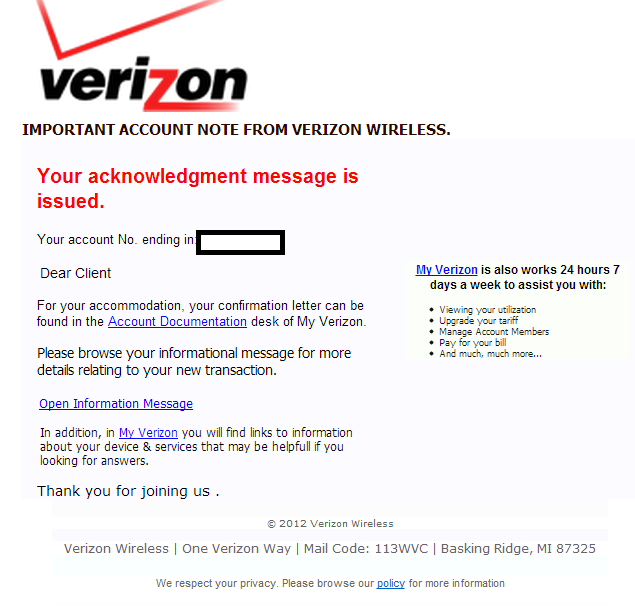 Cybercriminals impersonate Verizon Wireless, serve client