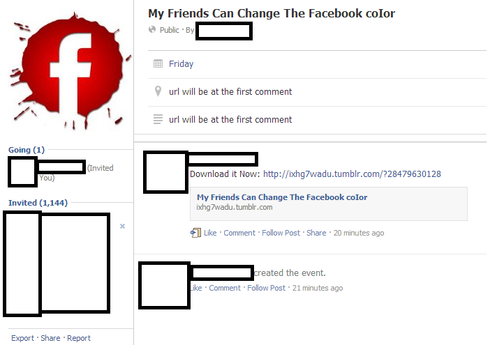 Fake 'Change Facebook Color Theme' events lead to rogue