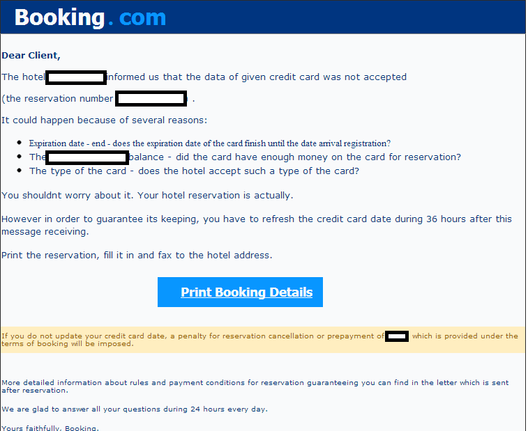 Spam frauds fakes and other malware deliveries page 12 for The hotel reservation