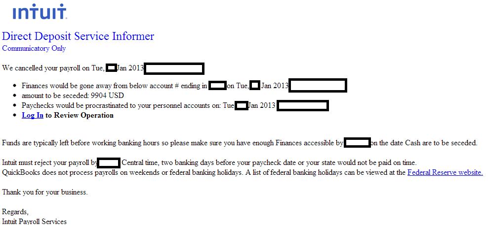 Fake Intuit 'Direct Deposit Service Informer' themed emails