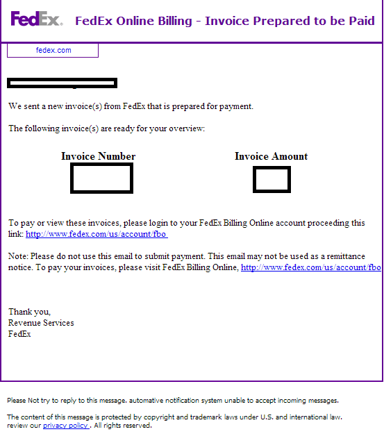 Fake FedEx Online Billing Invoice Prepared To Be Paid Themed - Email for invoice payment