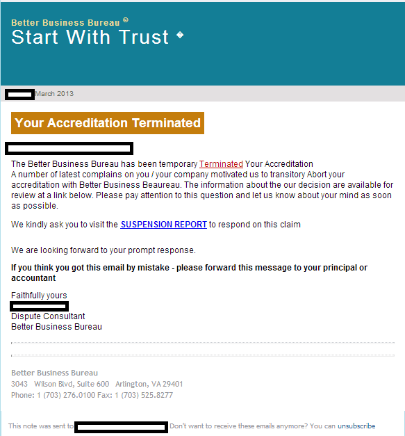 Spamvertised bbb your accreditation terminated themed emails lead bbbbetterbusinessbureauemailspamexploitsmalwareblackholeexploitkit sample screenshot thecheapjerseys Images